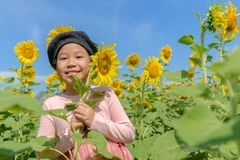 Cute Asian girl smile with sunflower flower royalty free stock images