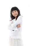 Cute asian girl standing on white background Royalty Free Stock Photo