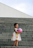 Cute Asian girl on steps Royalty Free Stock Photo