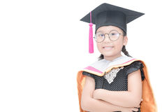 Cute asian girl student in graduation cap smile isolated. On white background. Education and people Stock Photos