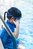 Kid, Girl, in Swimming Pool Royalty Free Stock Photos