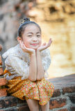 Cute asian girl on thai dress classic Royalty Free Stock Images