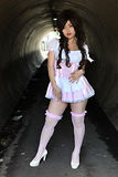 Cute Asian girl. In a tunnel stock image