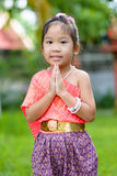 Cute asian girl wearing typical thai dress Royalty Free Stock Photo