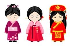 Cute asian girls in national dress. stock illustration