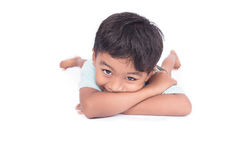 Cute asian little boy lying on floor. Asian little boy lying on floor Stock Photo