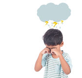 Cute asian little boy sad and cry. On white background Royalty Free Stock Images