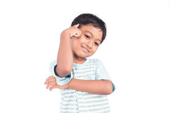 Cute asian little boy smile and thinking. On white background Stock Photography