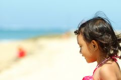 Cute asian little girl on the beach Stock Photo
