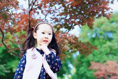 Cute Asian little beautiful girl in the autumn park. Cute Asian little girl beautiful  playing in a park,sunny blooming forest Stock Images