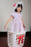 Cute asian little girl in a santa hat standing in gift basket Royalty Free Stock Photography