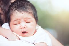 Cute asian newborn baby girl sleeping on mother`s shoulder Stock Image