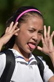 Cute Asian School Girl Poor Health. An attractive and asian person royalty free stock images