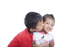 Cute Asian Sibling over White Royalty Free Stock Images