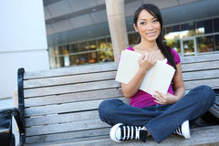 Cute Asian Student at College Stock Photos