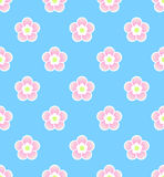 Cute asian style sakura, cherry blossom seamless pattern on blue background. Spring theme Royalty Free Stock Photos