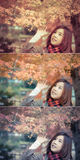 Cute Asian Thai girl is touching red leaves in autumn season abo. Ve her head in color set. This is Japanese concept  fashion stylish color Royalty Free Stock Photos