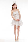 Cute Asian Woman in Fairy Godmother Costume, isola Royalty Free Stock Photos