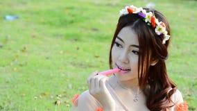 Cute asian woman fashion model portrait stock footage