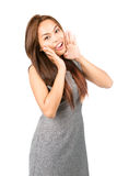 Cute Asian Woman Shouting Announcement Mouth Half Stock Image
