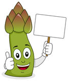 Cute Asparagus Character Holding Banner Stock Photos