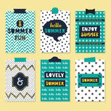 Cute assorted summer quotes journal cards set Stock Photography