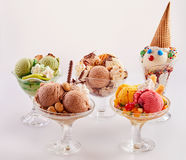 Cute assortment of delicious ice cream desserts Royalty Free Stock Photo