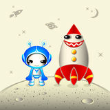 Cute astronaut. With smiling rocket at the planet surface Stock Photos