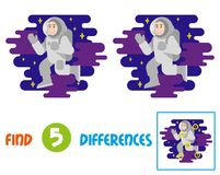 Cute astronaut find 10 differences. Find differences logic education game for children. Young smile cute cosmonaut astronaut in spacesuit which fly in free Stock Photos