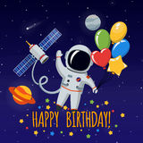 Cute astronaut in outer space. Vector background Royalty Free Stock Images