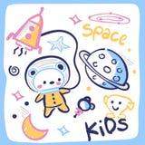 Cute astronaut teddy bear in a frame. Cute astronaut teddy bear in space on white background illustration vector Royalty Free Stock Photos