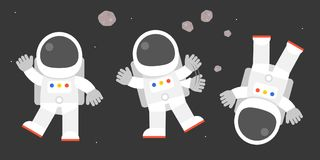 Cute astronaut in various post, bye bye. Say hello, flat design vector illustration Royalty Free Stock Image