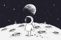 Cute astronaut walking on Moon Royalty Free Stock Images