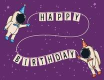 Cute astronauts celebrate happy birthday stock illustration