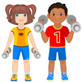 Cute athletes. Smiling boy and girl with dumbbells. Cute athletes Stock Photography