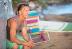 Cute Athletic Man At Beach. Single cheerful adult Caucasian male outdoors at beach Royalty Free Stock Photo