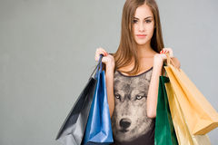 Cute attractive young shopper. Royalty Free Stock Photo