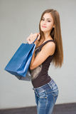 Cute attractive young shopper. Royalty Free Stock Image