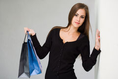Cute attractive young shopper. Royalty Free Stock Photography