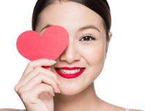 Cute attractive young woman with red heart. Valentine`s day art Stock Image