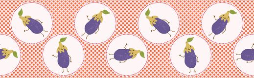 Cute aubergine polka dot vector illustration. Seamless repeating border pattern. Hand drawn kawaii eggplant banner trim background. 1950s style retro kitchen vector illustration