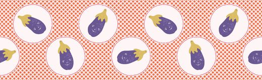 Cute aubergine polka dot vector illustration. Seamless repeating border pattern. Hand drawn kawaii eggplant banner trim background. 1950s style retro kitchen stock illustration