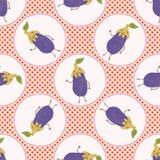 Cute aubergine polka dot vector illustration. Seamless repeating pattern. Hand drawn kawaii eggplant background. 1950s style retro kitchen decor, kids textiles royalty free illustration