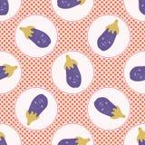 Cute aubergine polka dot vector illustration. Seamless repeating pattern. Hand drawn kawaii eggplant background. 1950s style retro kitchen decor, kids textiles stock illustration