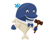 Cute Auction Animal Cartoon Character Illustration - Blue Whale. Animal holding a hammer cartoon representing auction, justice, bank, loan, and other finance Royalty Free Stock Photo