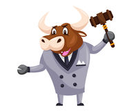 Cute Auction Animal Cartoon Character Illustration - Bull. Animal holding a hammer cartoon representing auction, justice, bank, loan, and other finance related Stock Image
