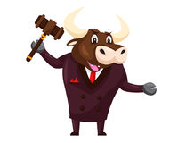 Cute Auction Animal Cartoon Character Illustration - Bull. Animal holding a hammer cartoon representing auction, justice, bank, loan, and other finance related Royalty Free Stock Photos