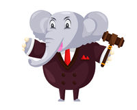 Cute Auction Animal Cartoon Character Illustration - Elephant. Animal holding a hammer cartoon representing auction, justice, bank, loan, and other finance Royalty Free Stock Images