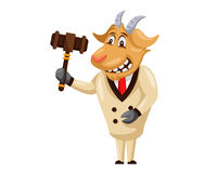 Cute Auction Animal Cartoon Character Illustration - Goat. Animal holding a hammer cartoon representing auction, justice, bank, loan, and other finance related Royalty Free Stock Image
