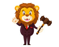 Cute Auction Animal Cartoon Character Illustration - Lion. Animal holding a hammer cartoon representing auction, justice, bank, loan, and other finance related Stock Photo